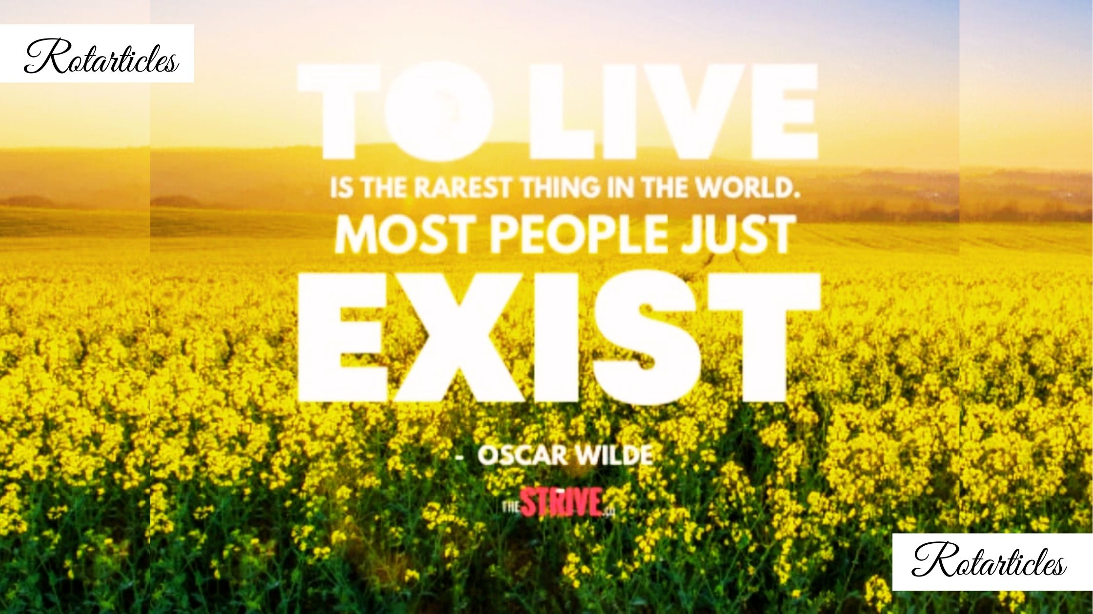 To live is the rarest thing in this world. Some people just exist.